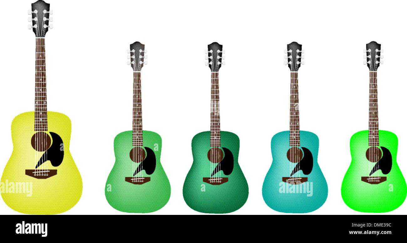Beautiful Green Colors Of Acoustic Guitars On White Background Stock