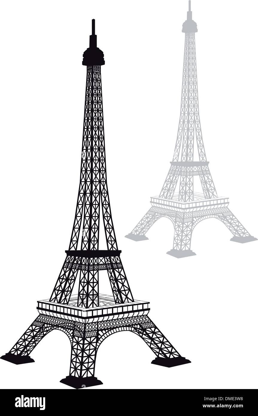 Eiffel tower silhouette, vector - Stock Vector