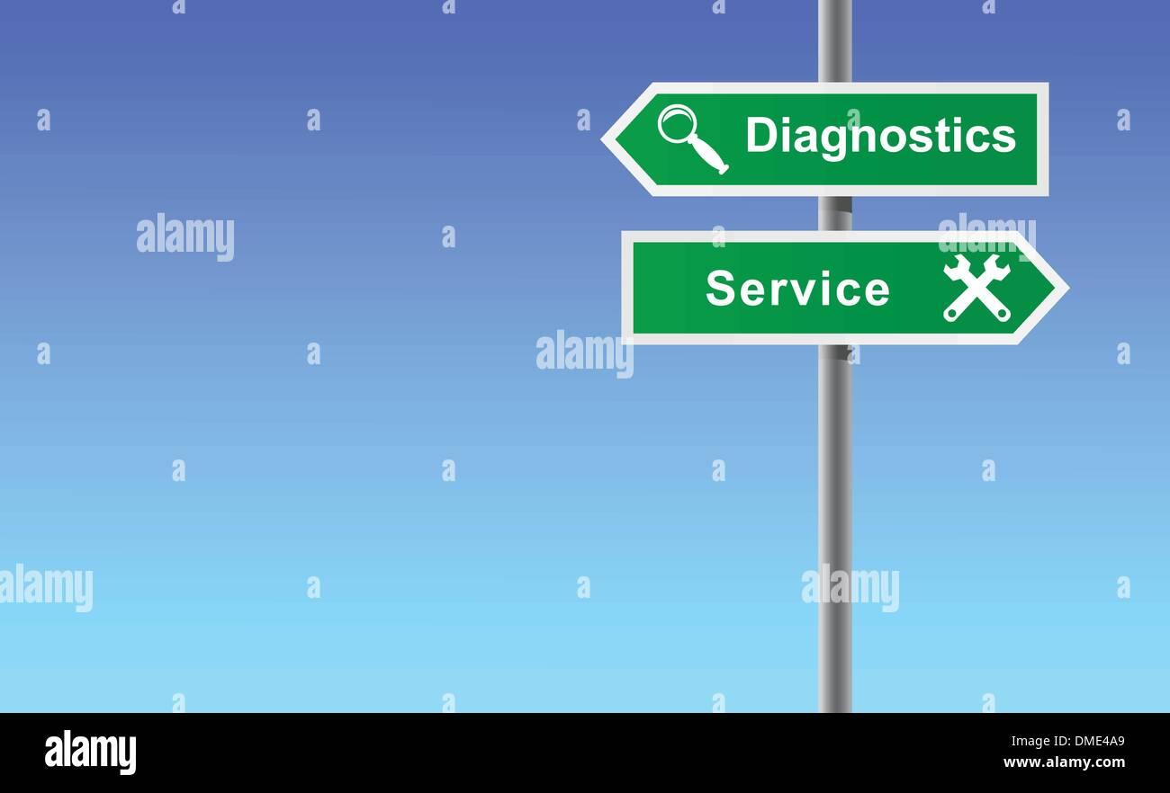 Arrows diagnostics service on sky background. - Stock Image
