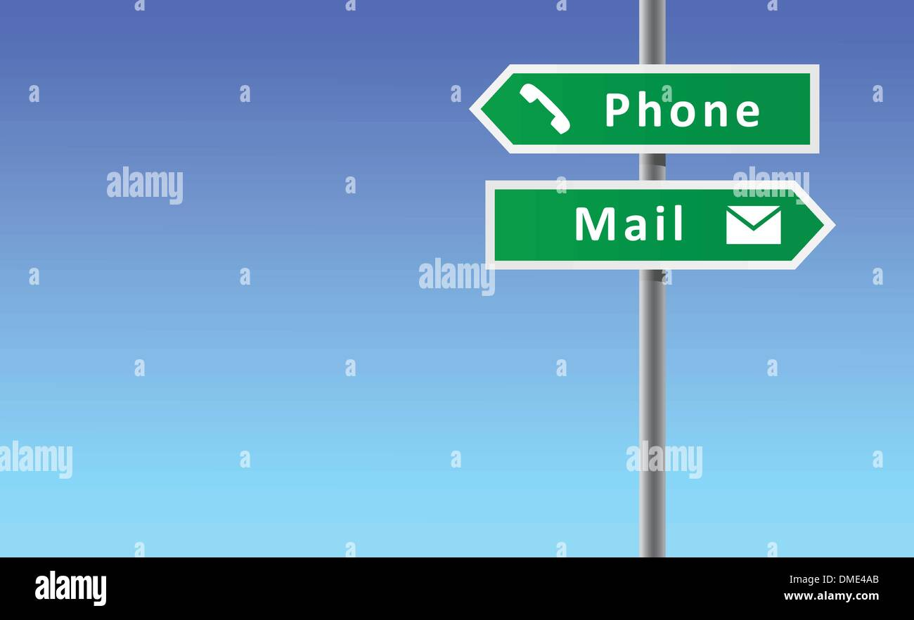 Arrows phone mail on sky background. - Stock Image