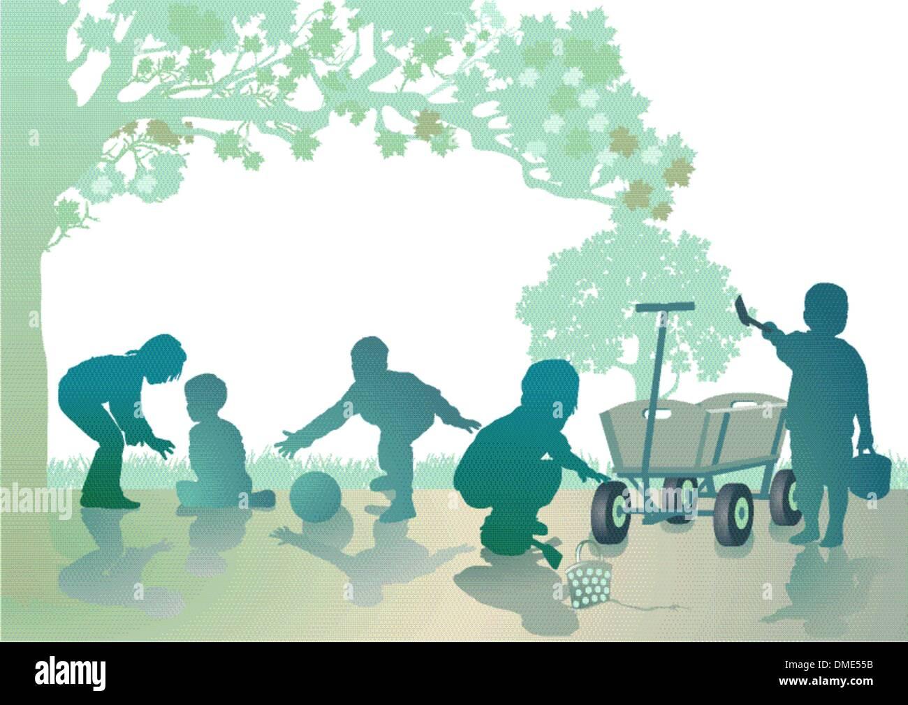 Kids in the sandbox - Stock Image