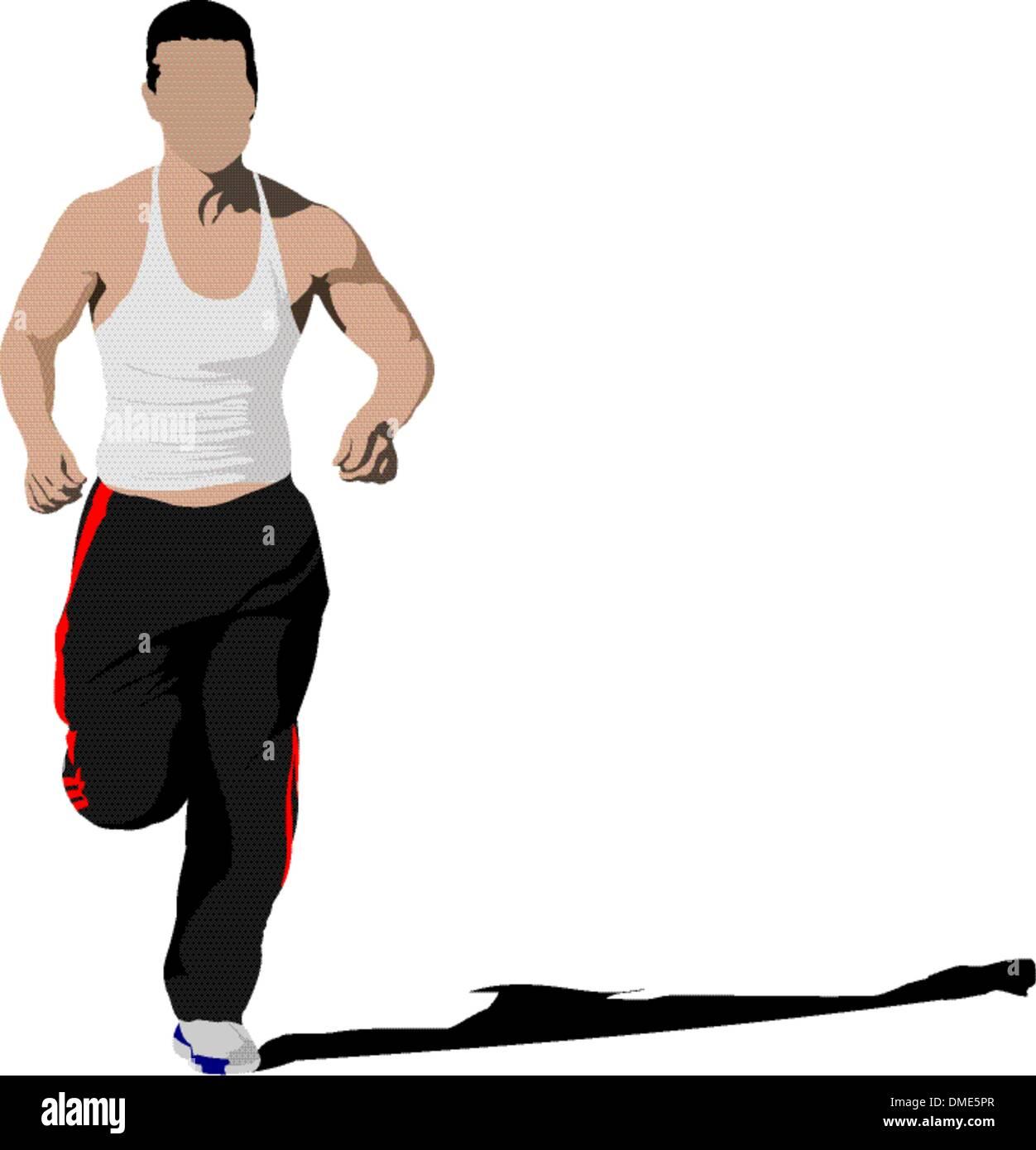 The running man. Vector illustration - Stock Vector