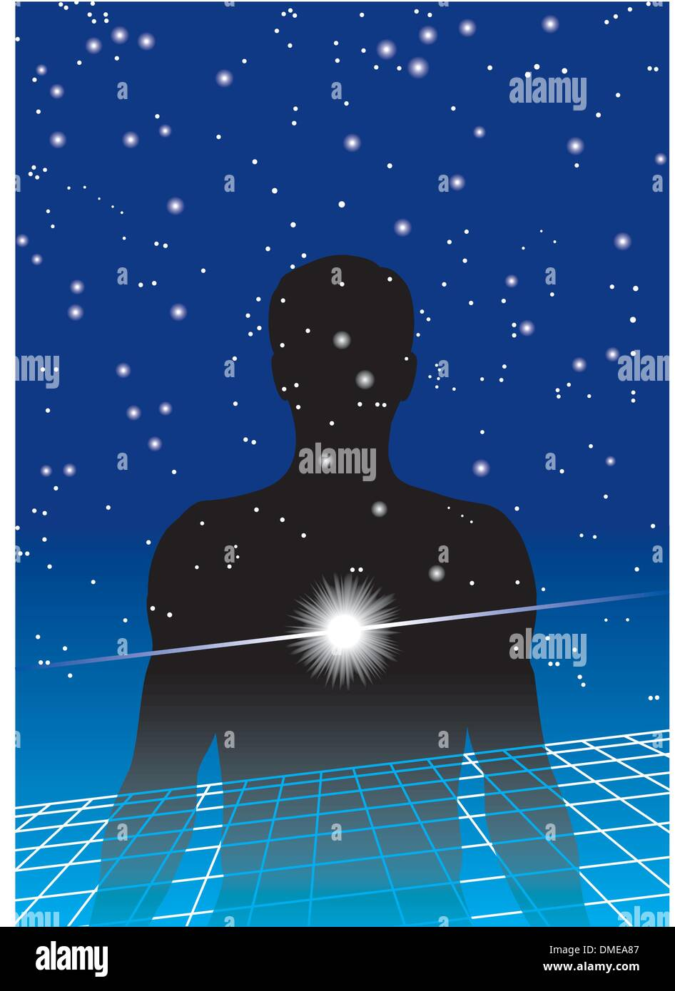 man's silhouette with background of sky and stars - Stock Image
