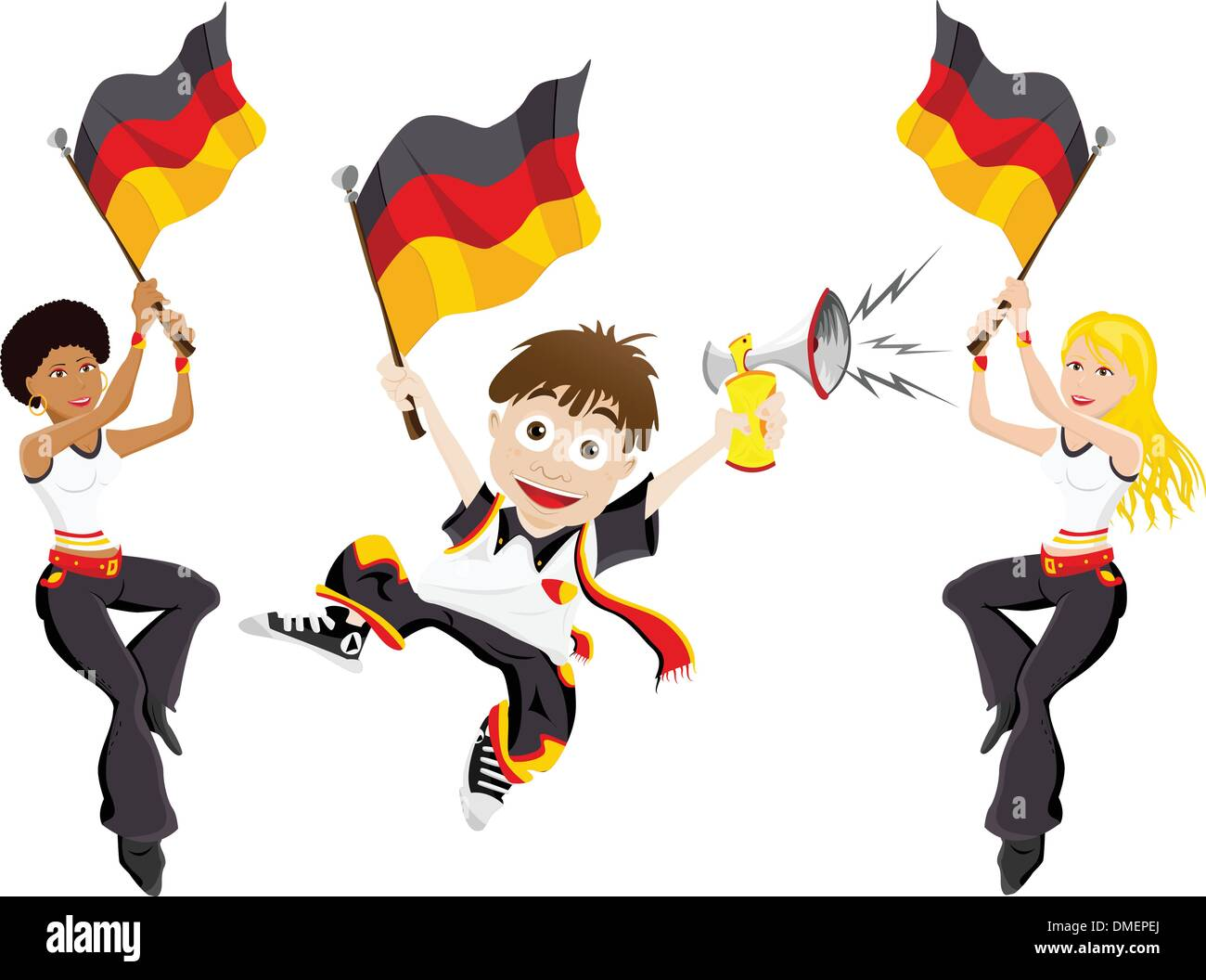 Germany Sport Fan with Flag and Horn - Stock Vector