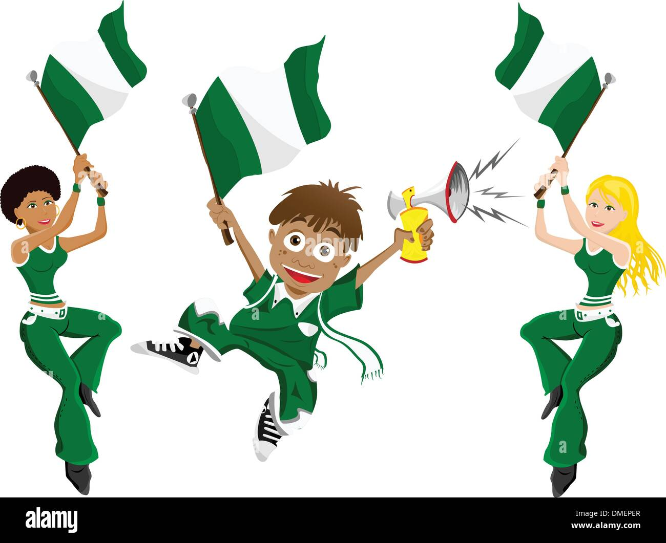 Nigeria Sport Fan with Flag and Horn - Stock Vector