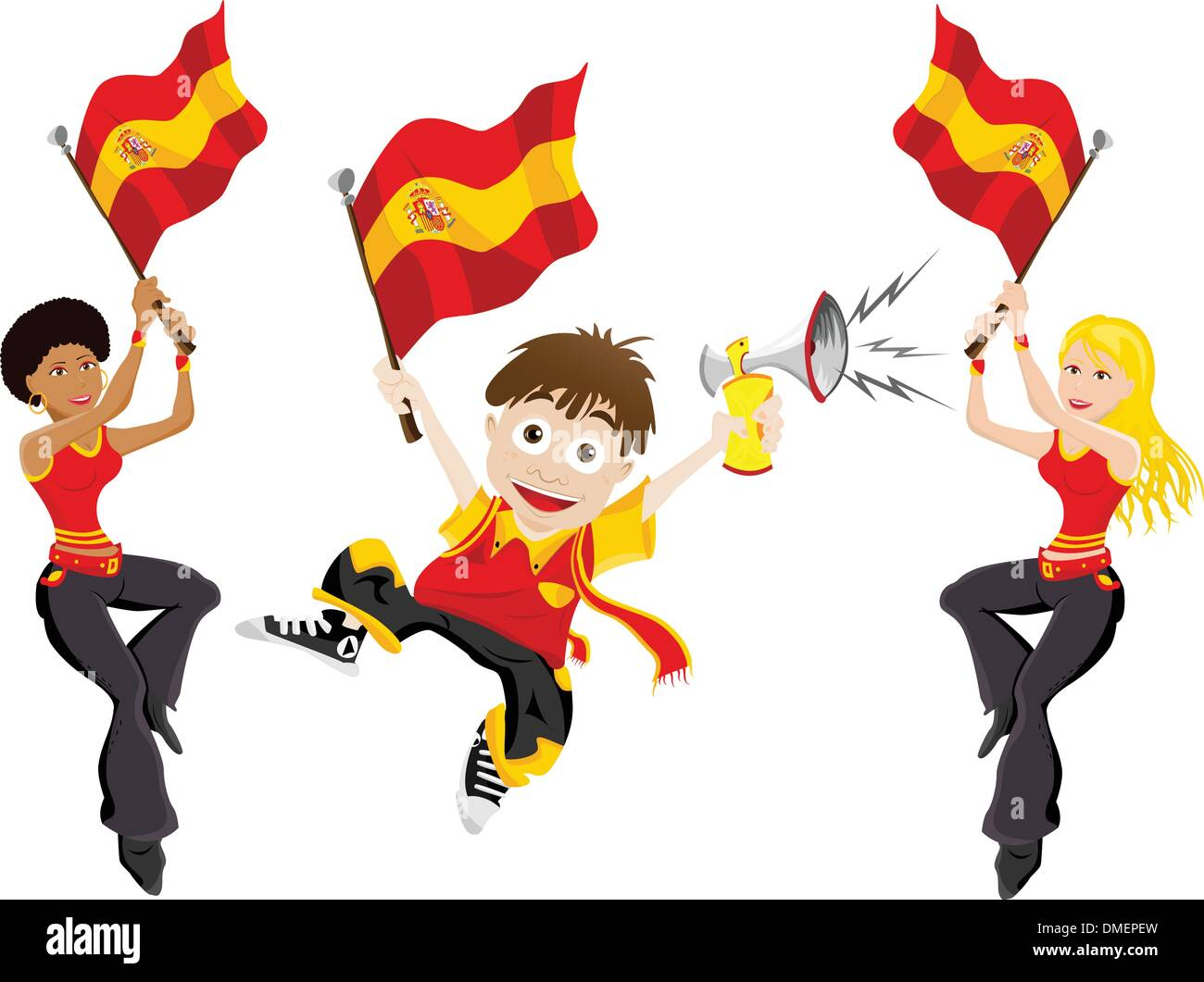 Spain Sport Fan with Flag and Horn - Stock Vector