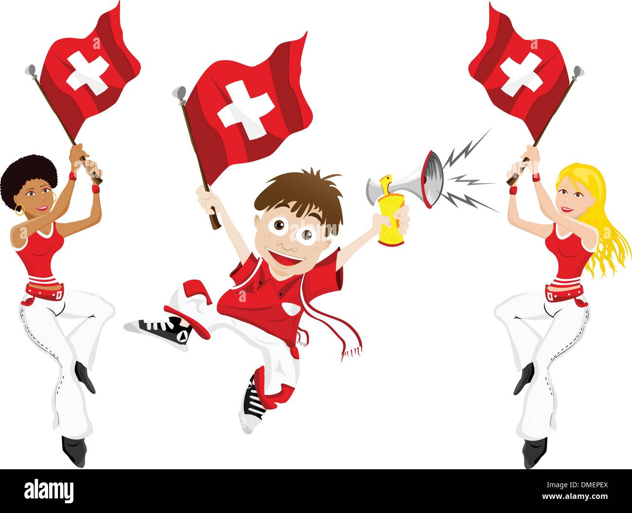 Switzerland Sport Fan with Flag and Horn - Stock Vector