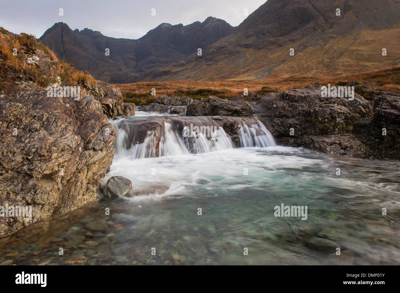 Fairy Pools in Glen Brittle,Isle of Skye, In back ground part of the Cuillin Ridge - Stock Image