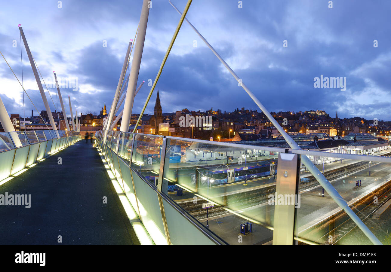 Stirling city centre from the footbridge crossing the railway line - Stock Image