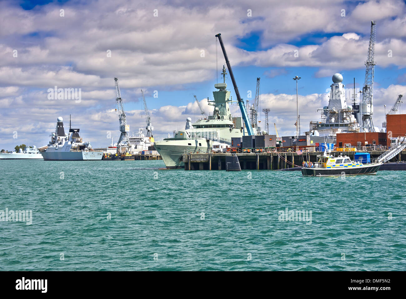 Her Majesty's Naval Base (HMNB) Portsmouth is one of three operating bases in the United Kingdom for the British Royal Navy - Stock Image