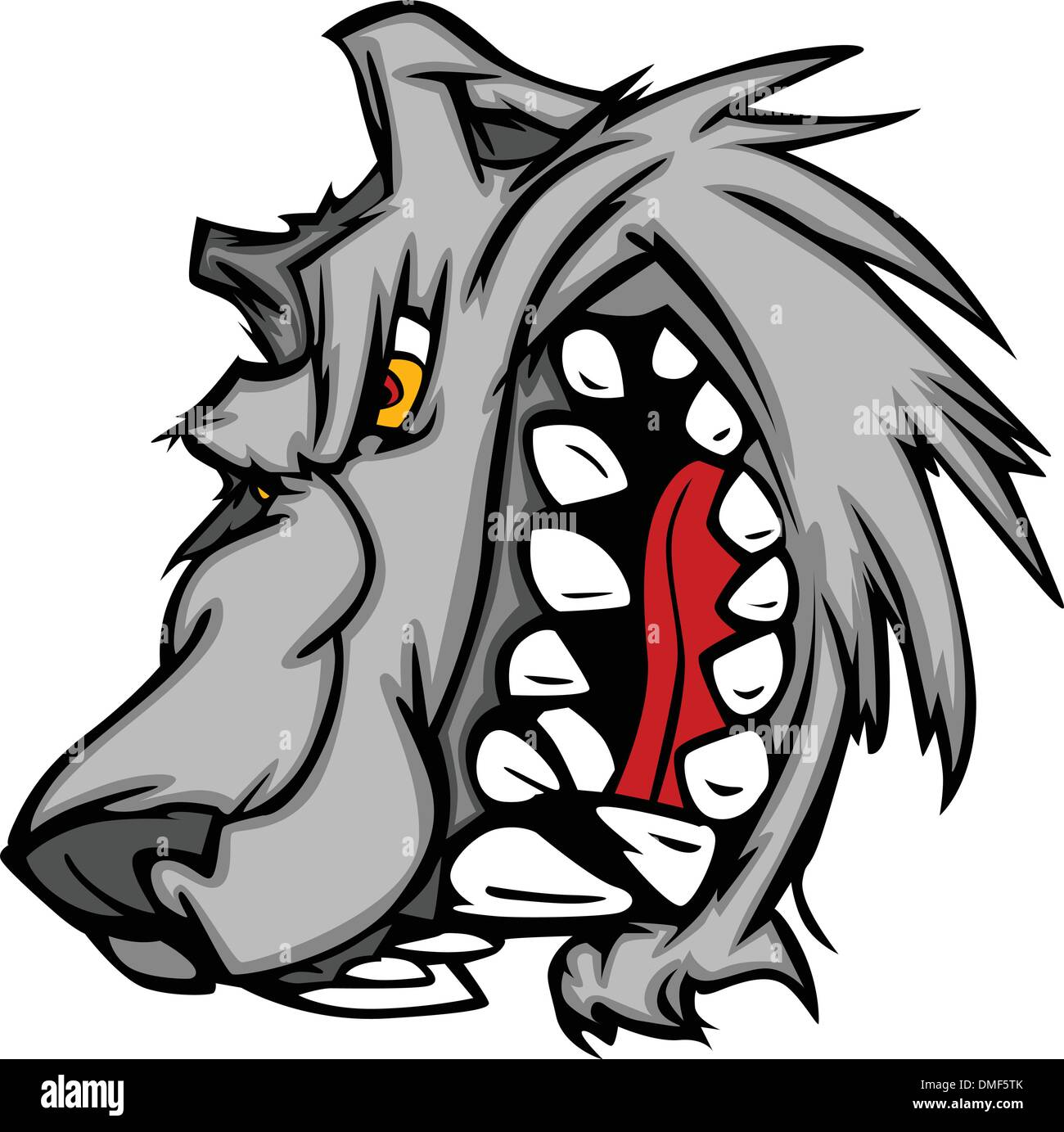 Wolf Mascot Vector Cartoon with Snarling Face Stock Vector