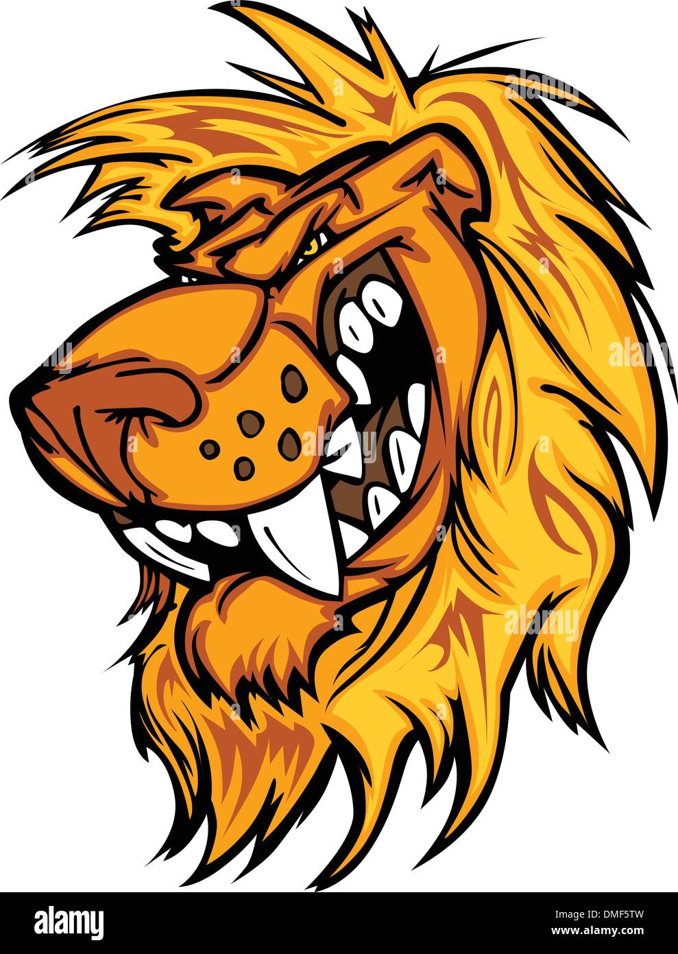 Snarling Cartoon Lion Mascot Vector Graphic - Stock Vector
