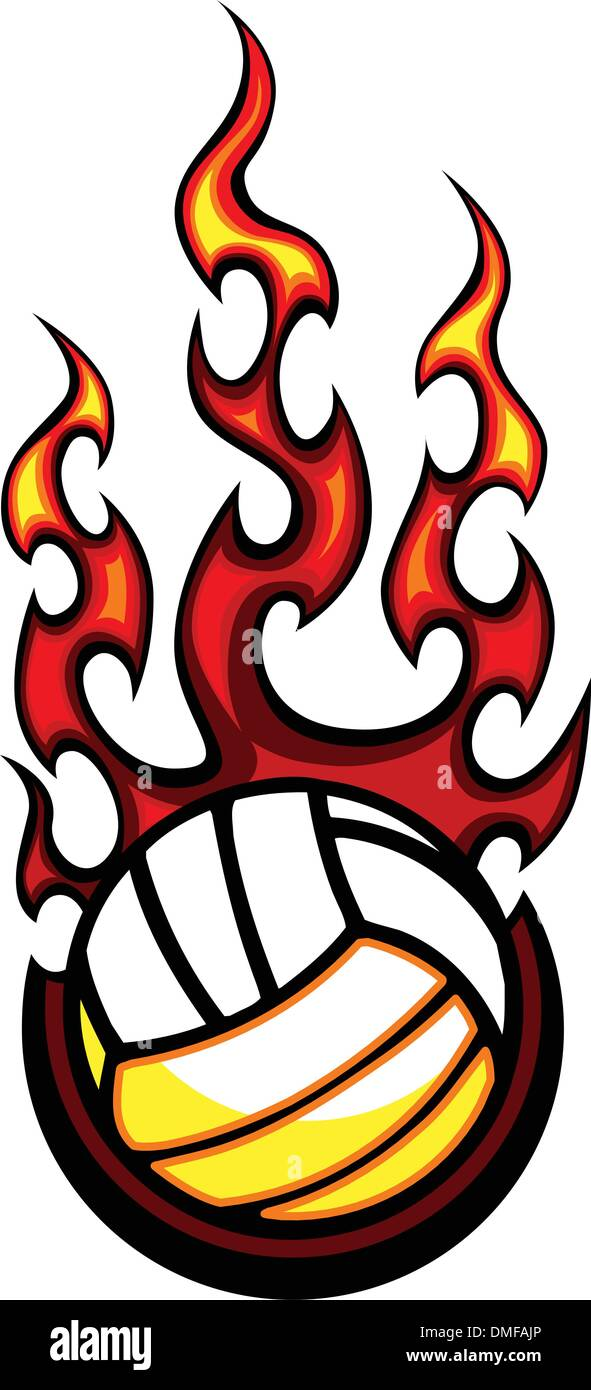 Volleyball Flaming Ball Vector Illustration - Stock Image