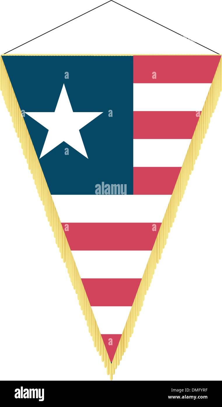 Vector image of a pennant with the national flag of Liberia - Stock Image