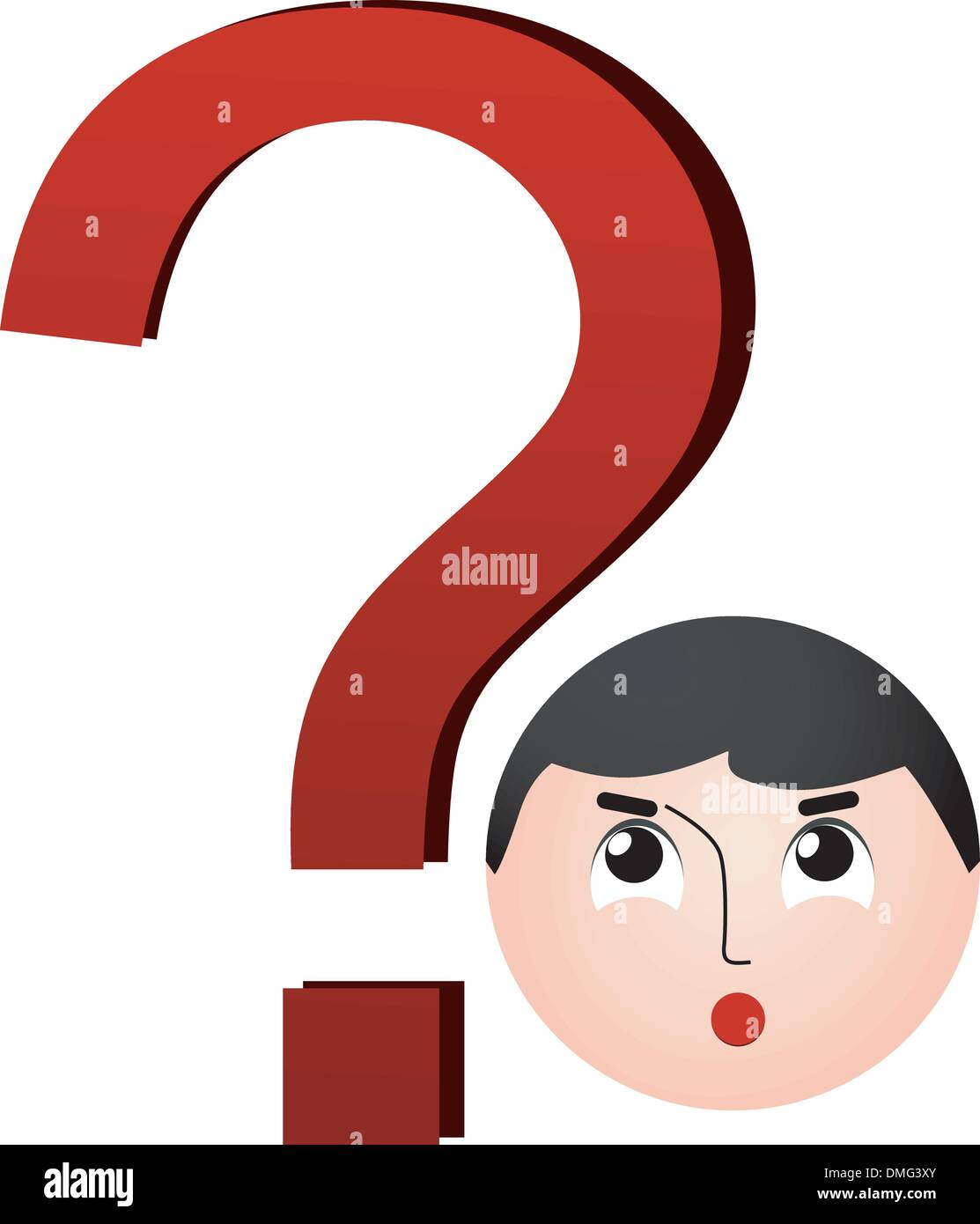 Question mark with the image of the boy's face - Stock Image