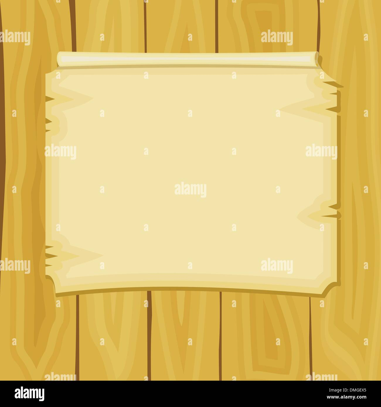 Vector illustration of cartoon announcement on wooden boards Stock Vector