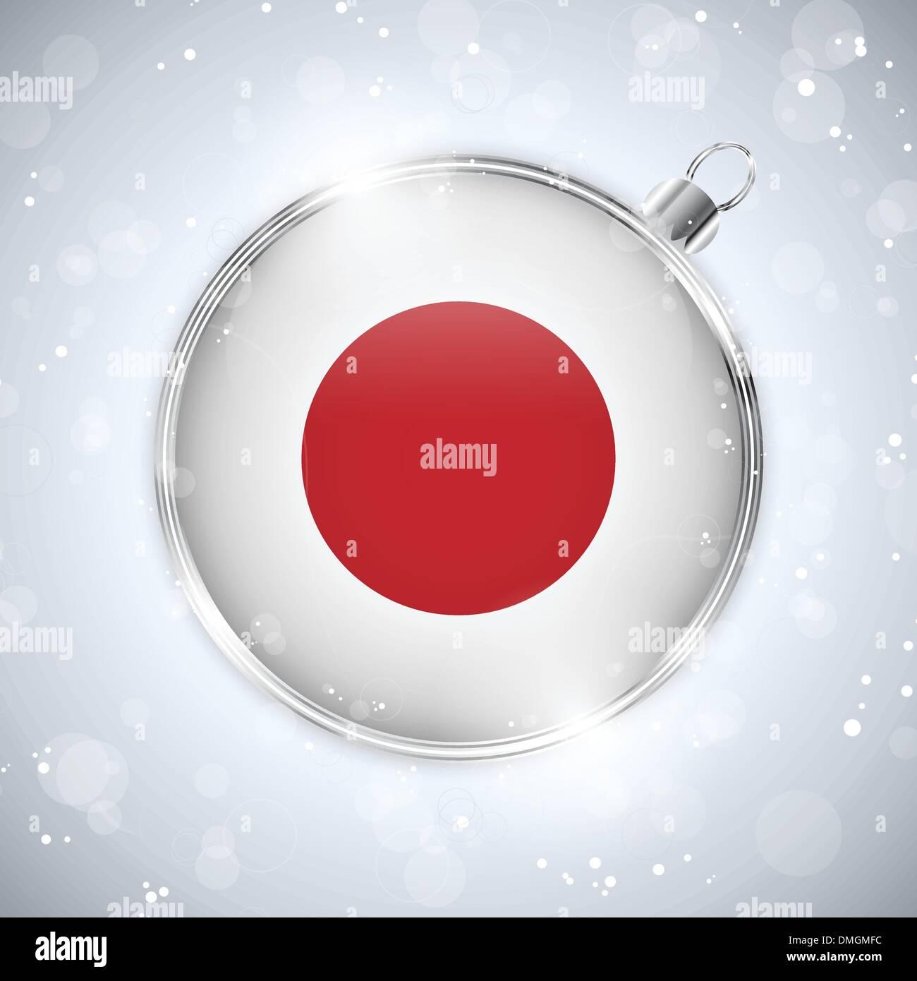 Merry Christmas Silver Ball with Flag Japan Stock Vector
