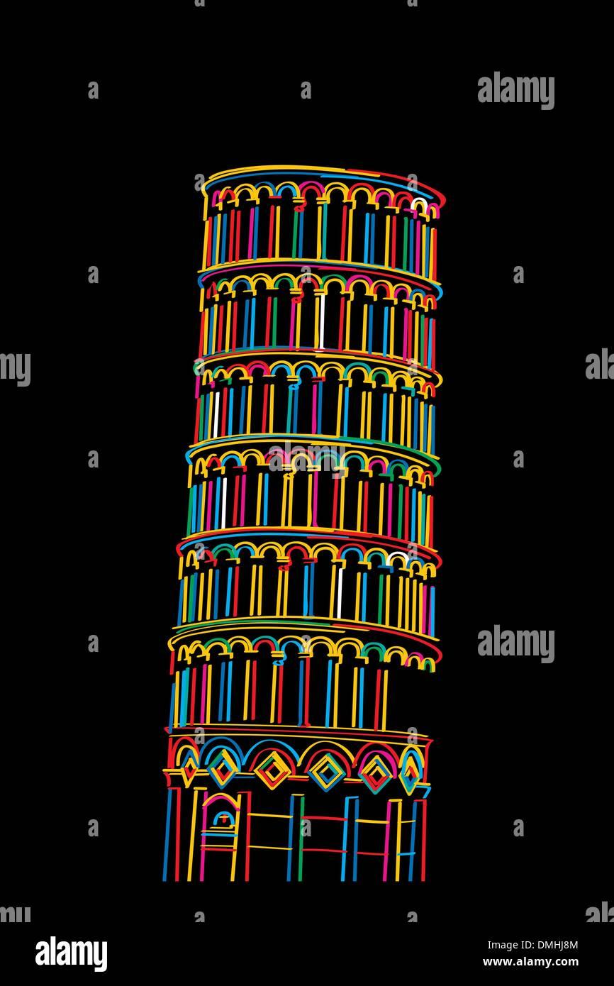 Pisa tower sketch - Stock Vector