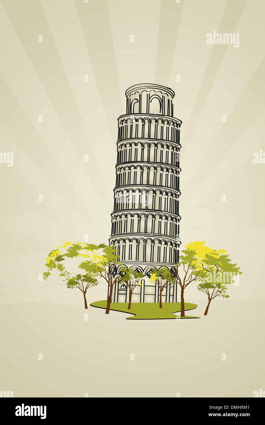 Leaning tower of Pisa - Stock Vector