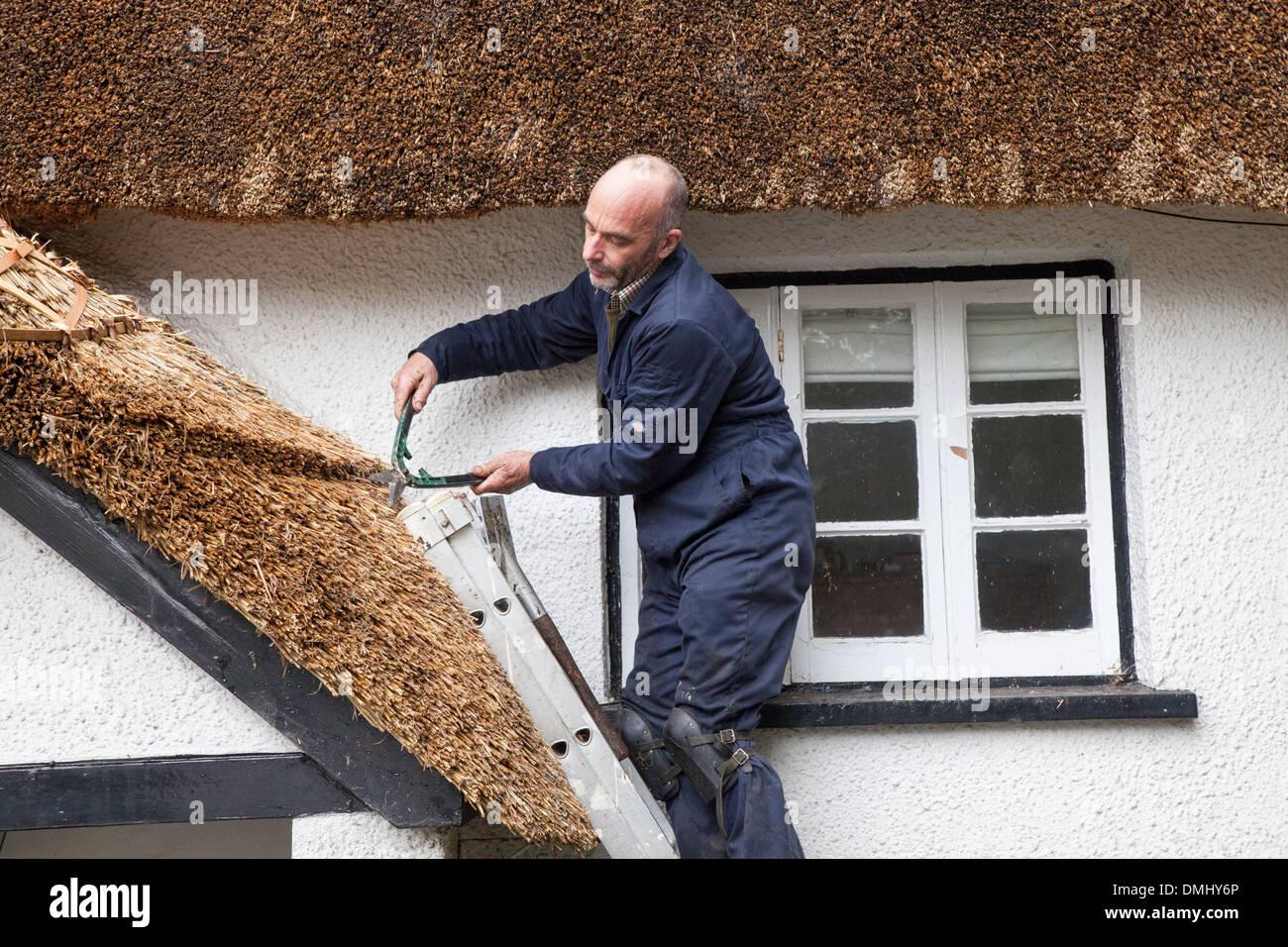 Thatcher thatching roof, Dartmoor, Devon, England, UK - Stock Image