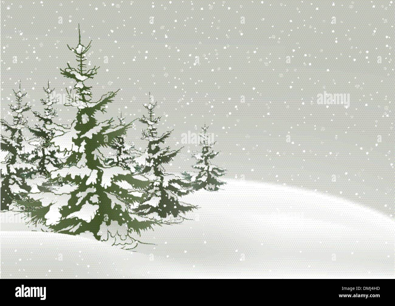 Snow And Conifers - Stock Vector