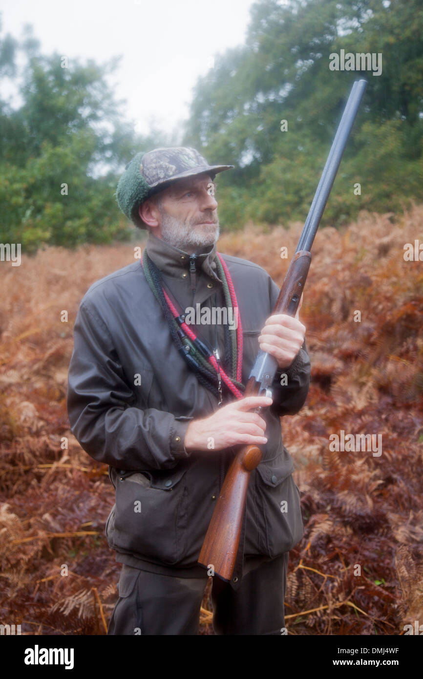 Man on pheasant hunt with gun, Dartmoor, Devon, England - Stock Image