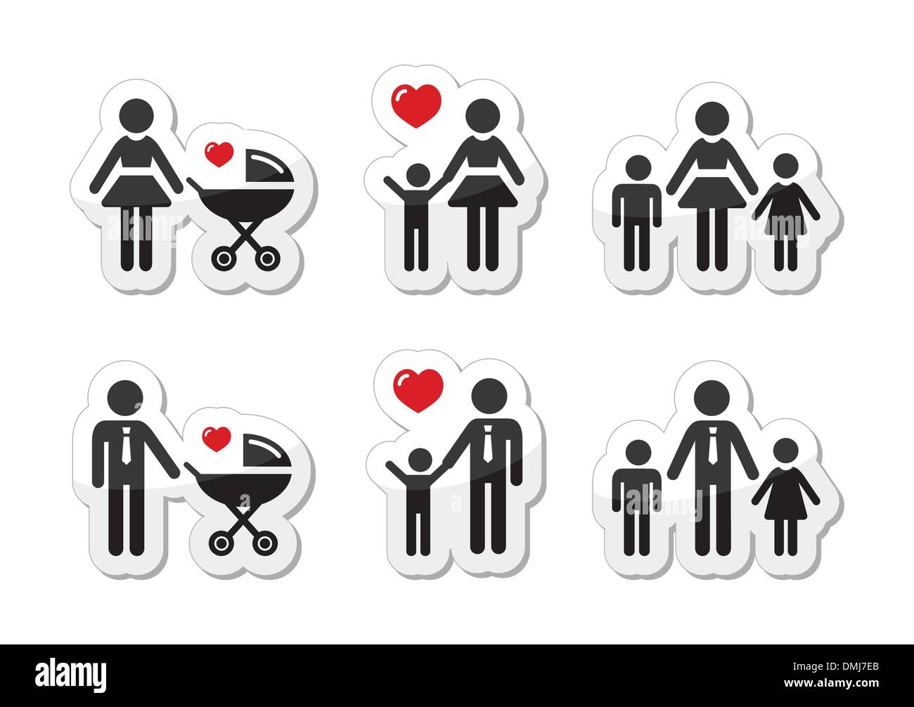 Single parent sign - family icons as labels - Stock Vector