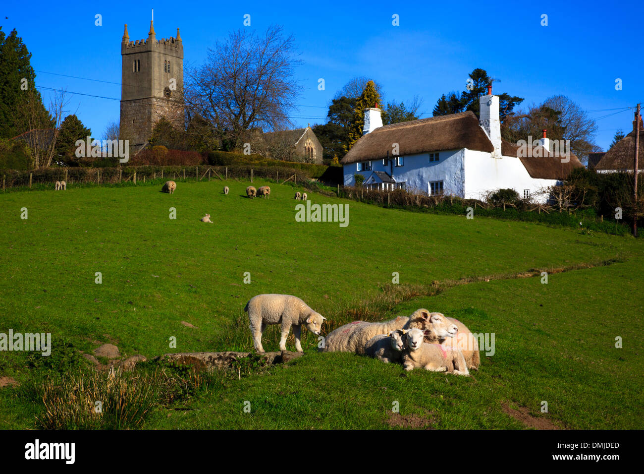 North Bovey village, Dartmoor National Park, Devon, UK - Stock Image