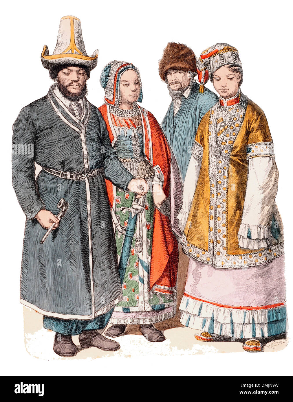 19th century XIX 1800s Inhabitants of the Russian Steppes - Stock Image