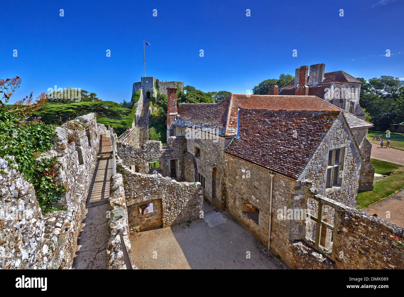 Carisbrooke Castle is a historic motte-and-bailey castle located in the village of Carisbrooke - Stock Image
