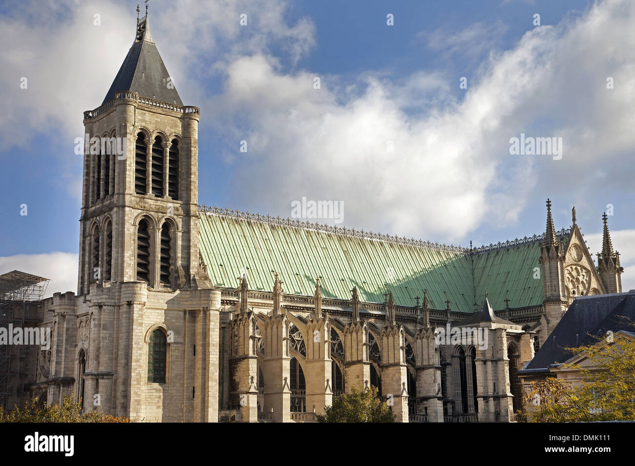 BASILICA OF SAINT DENIS, RELIGIOUS EDIFICE IN GOTHIC STYLE REBUILT IN THE 12TH CENTURY BY THE ABBOT SUGER, CEMETERY FOR THE KINGS OF FRANCE, LISTED AS A HISTORICAL MONUMENT, SAINT-DENIS, SEINE-SAINT-DENIS (93), FRANCE - Stock Image