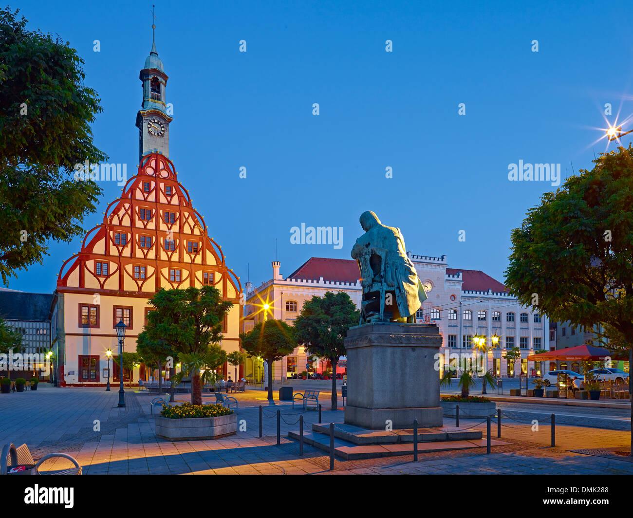 Gewandhaus, Schumann Monument and City Hall in Zwickau, Saxony, Germany - Stock Image