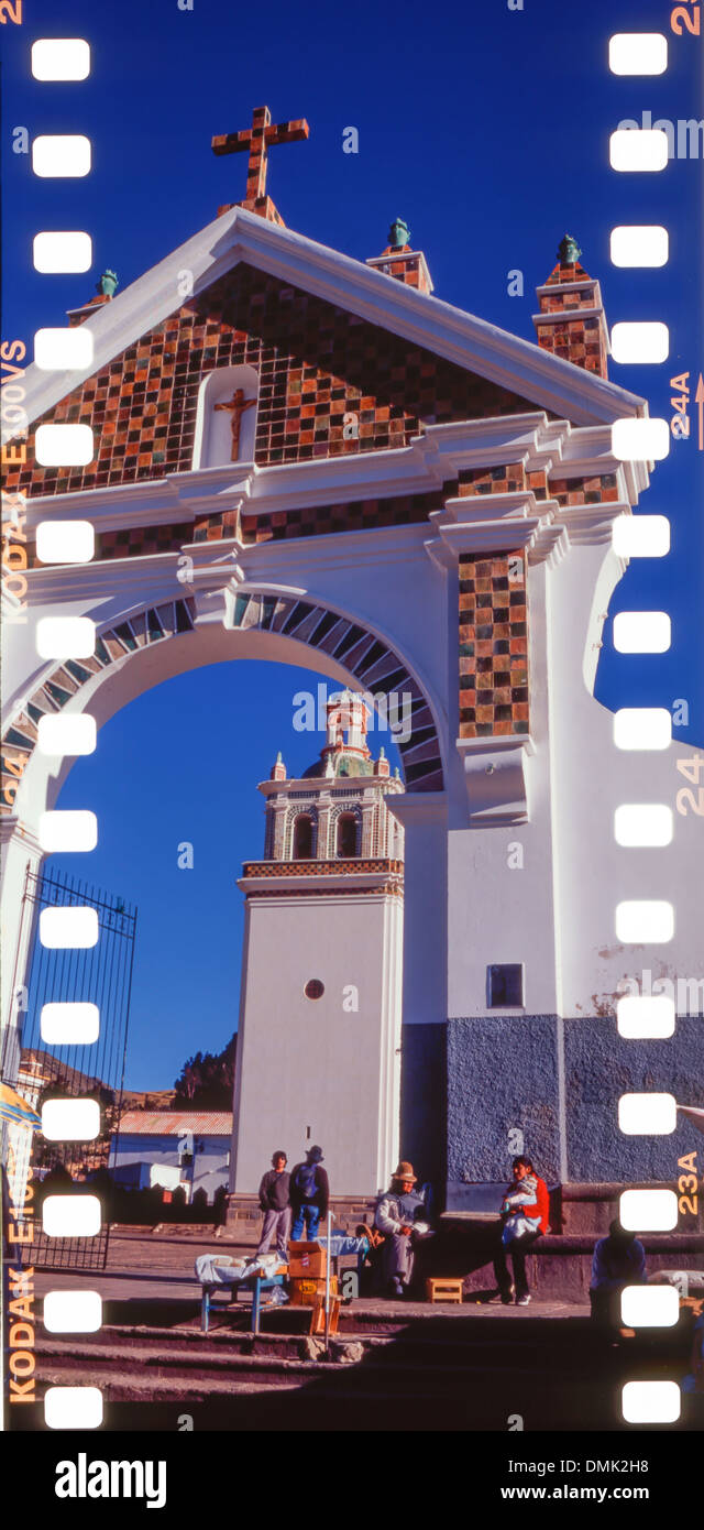 OUR LADY OF COPACABANA BASILICA, RELIGIOUS EDIFICE FROM THE 16TH CENTURY REBUILT IN THE 17TH IN A MOORISH STYLE, CITY OF COPACABANA, MANCO KAPAC PROVINCE, BOLIVIA, SOUTH AMERICA - Stock Image