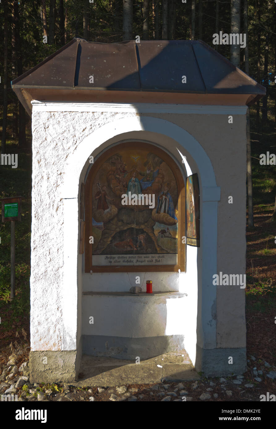 Chapel on the way to the holy stone in Gaflenz, among others the Hll. John of the Baptist and Nicholas are represented, the cartridge of the parish church of Hollenstein an der Ybbs (neighboring village in lower Austria), the Chapel is also accompanied by - Stock Image