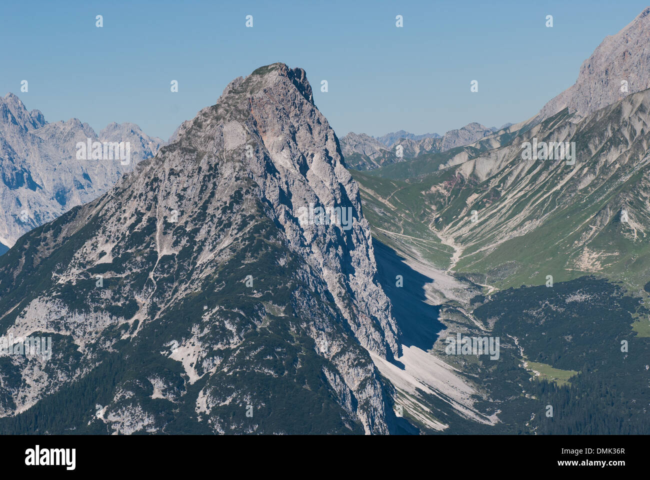 Seen from the miter bit in the Wetterstein from East (the Arnplattenspitze) Stock Photo