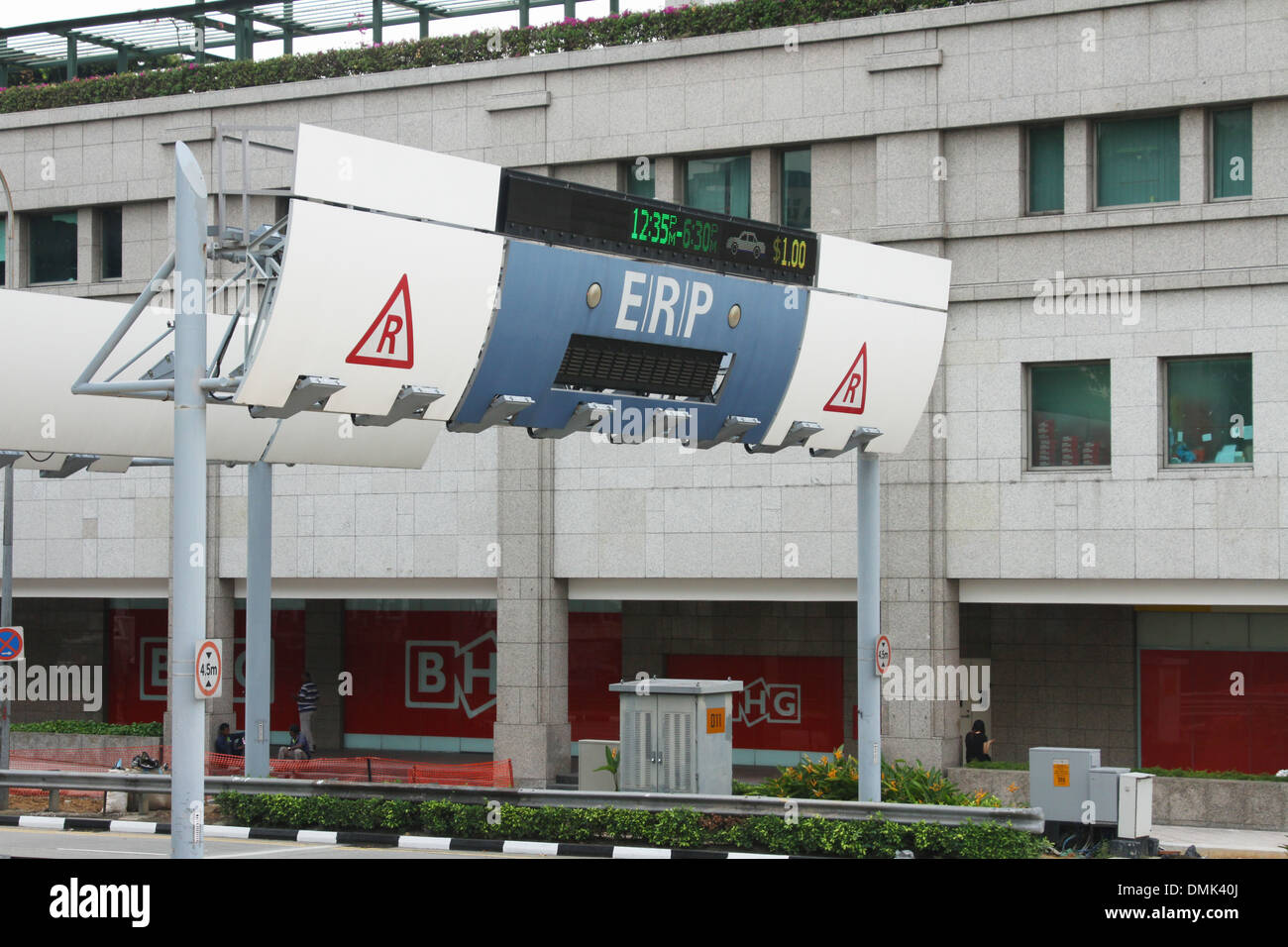 ERP, Electronic Road Pricing. Automated sensor for collecting road tolls. Singapore. - Stock Image