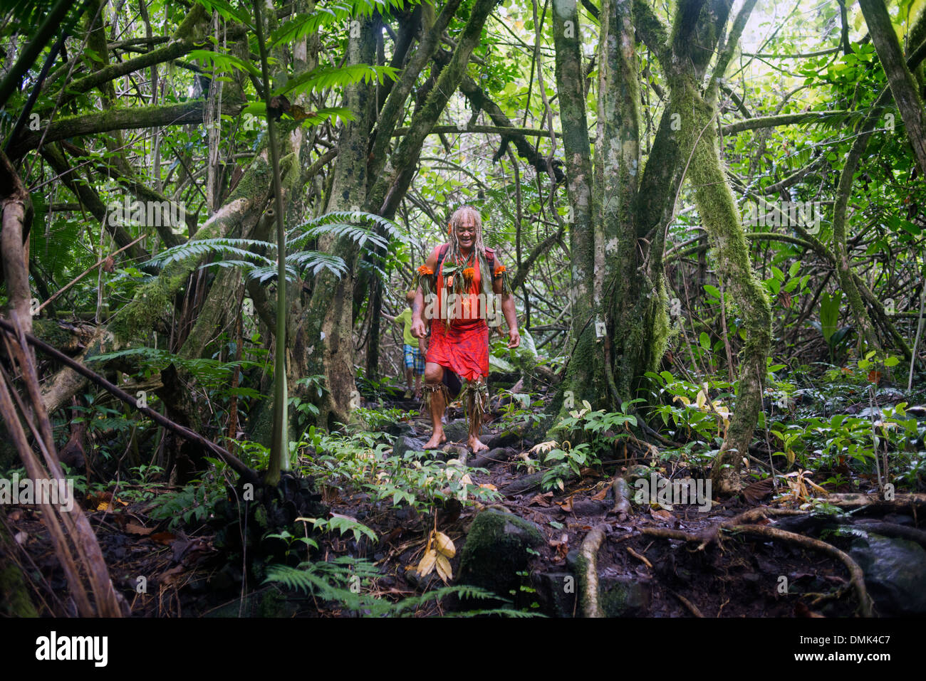 Rarotonga Island. Cook Island. Polynesia. South Pacific Ocean. Mr Pa, the most popular guide in Rarotonga. One of - Stock Image