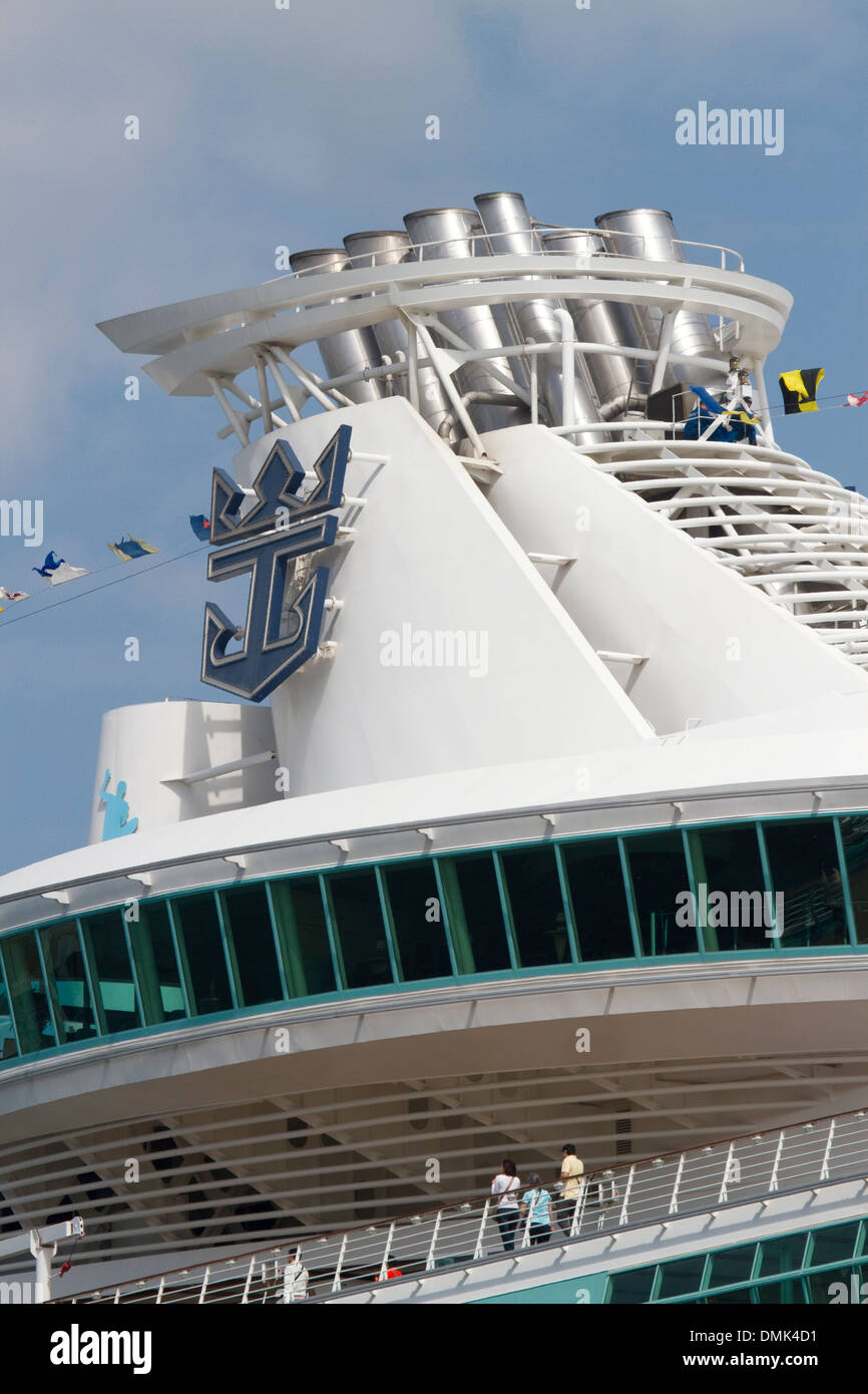 Funnel on RCL ship - Stock Image