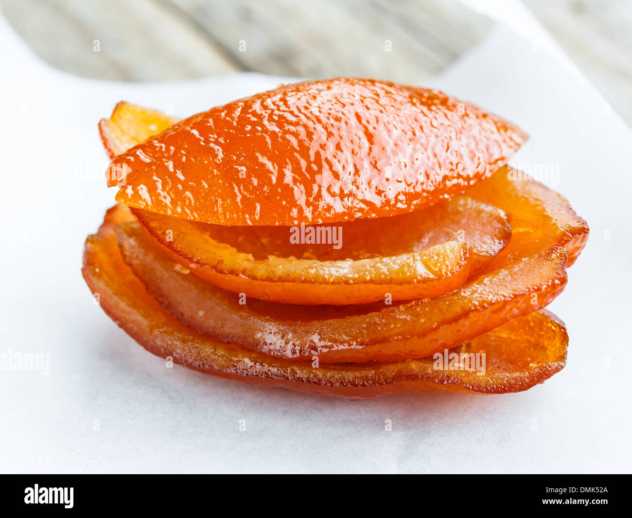 Candied orange peel on paper - Stock Image