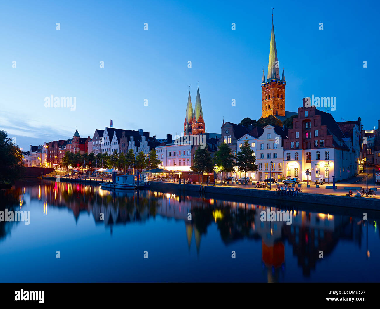 View to Obertrave with St. Marys of Lübeck and St. Peters Church, Lübeck, Schleswig-Holstein, Germany - Stock Image