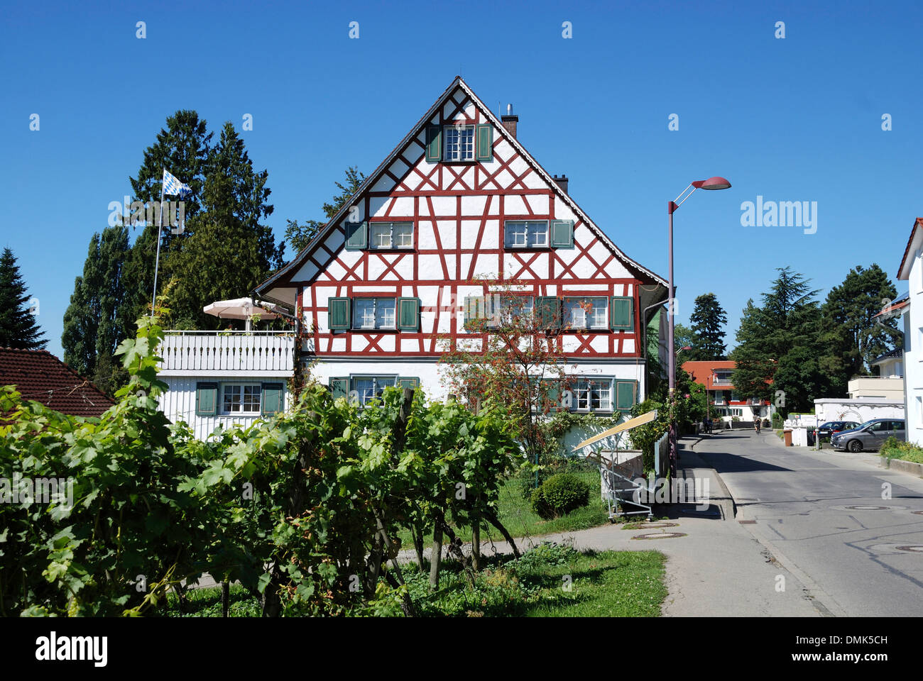 Half-timbered house on the shore of Lake Constance in the wine village Nonnenhorn near Lindau. - Stock Image
