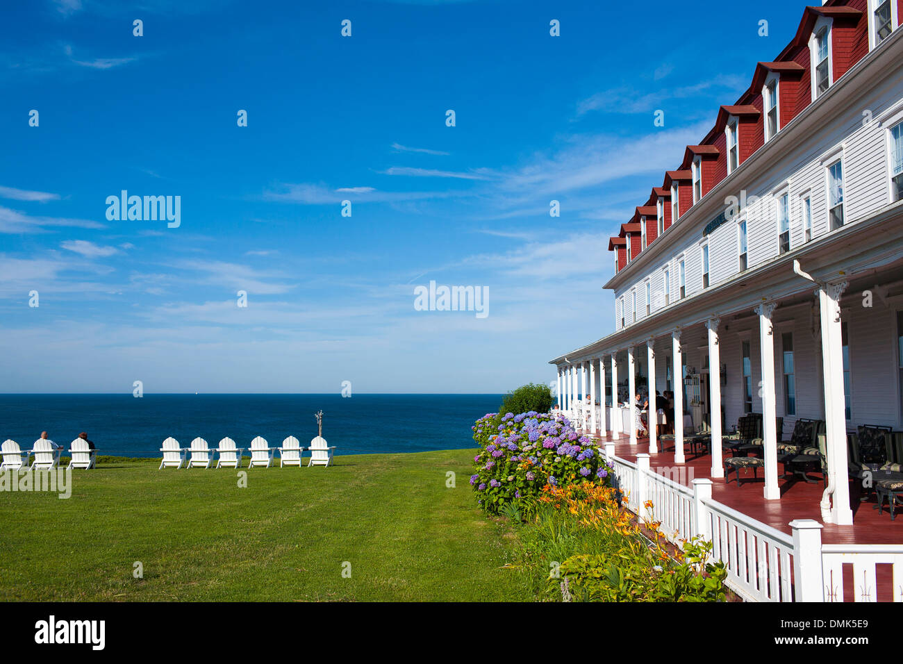 Chairs Lined Up On The Lawn In Front Of The Spring House Hotel On Block  Island, A Popular Tourism Destination In Rhode Island
