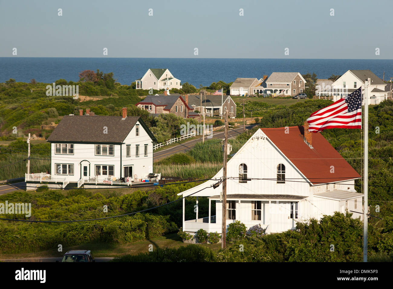 A view across the houses of Block Island, a resort island close to the coast of Rhode Island, a popular vacation place - Stock Image