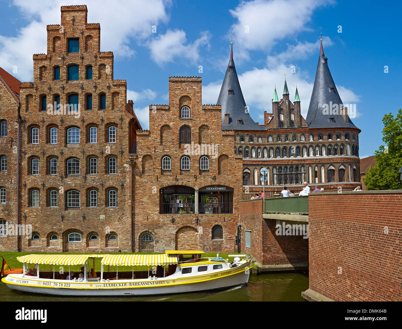 Warehouses and Holsten Gate, Hanseatic city of Lübeck, Schleswig-Holstein, Germany - Stock Image