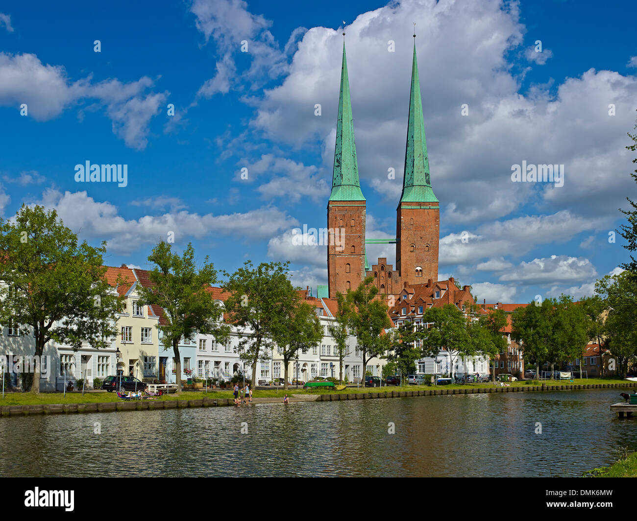 Cathedral with houses at River Trave, Lübeck, Schleswig-Holstein, Germany - Stock Image