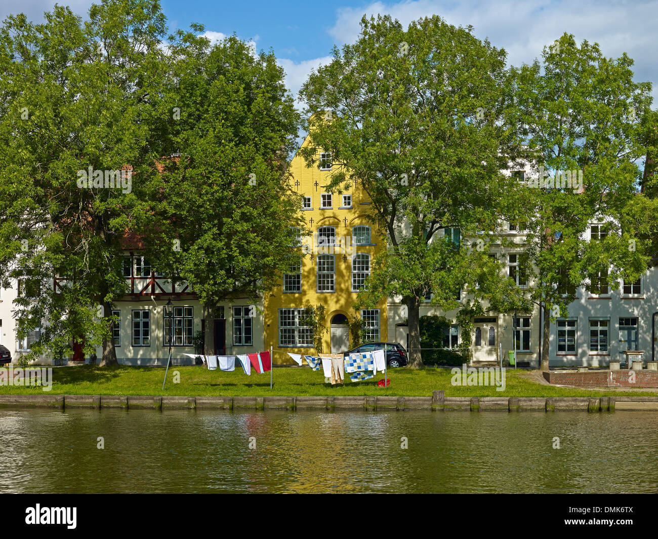 Houses at River Trave, Lübeck, Schleswig-Holstein, Germany - Stock Image