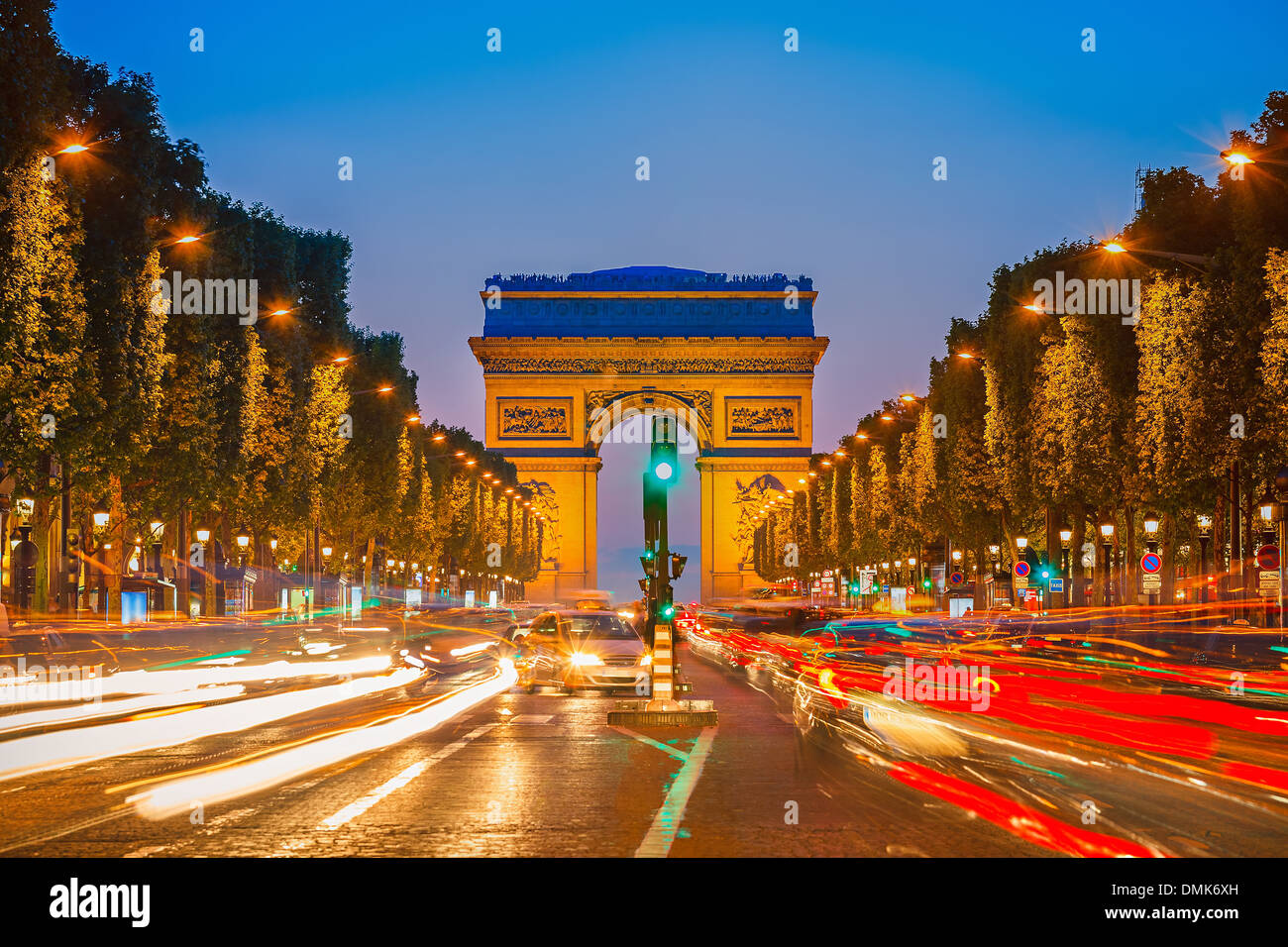 Arch of Triumph at night - Stock Image