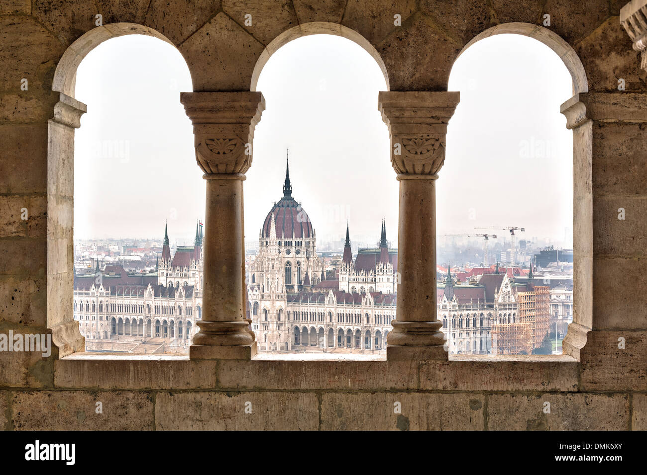 Parliament form Fisherman's Bastion, Budapest - Stock Image