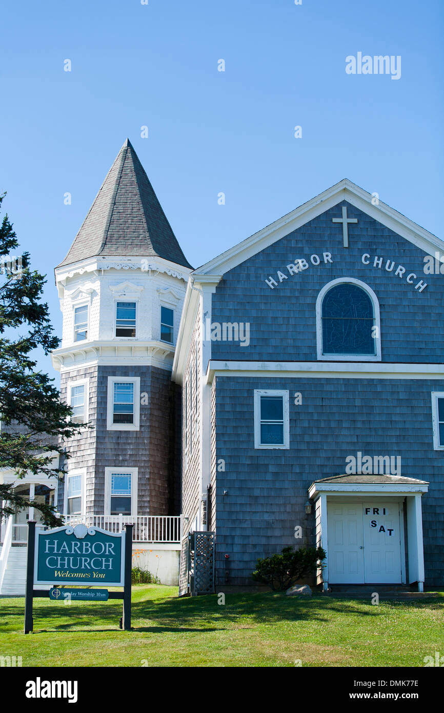 The harbor church in Old Harbor on Block island, Rhode Island, USA, a popular New England vacation location - Stock Image