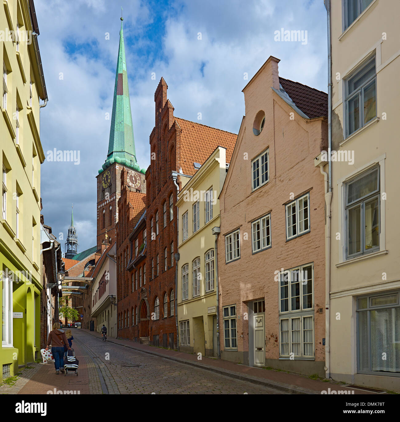 Engelsgrube street with St. James Church, Lübeck, Schleswig-Holstein, Germany - Stock Image